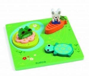 Puzzle per bambini Djeco in legno - 123 Froggy